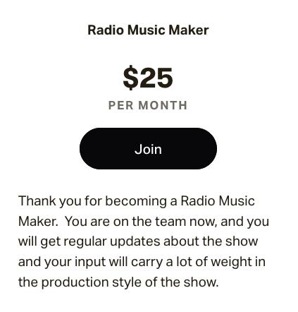 $25.00 membership