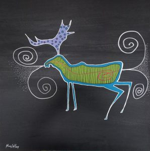 1. GREEN MOOSE AT NIGHT 40X40(INCHES) ACRYLIC ON CANVAS $5600.00