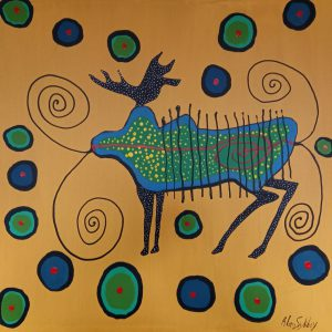 MOOSE IN YELLOW LIGHT WITH SPIRITS